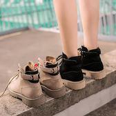 2018秋款磨砂皮圓頭系帶英倫風時尚馬丁靴女黑色防滑底低跟女短靴  初見居家