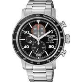 【CITIZEN】星辰 光動能賽車計時碼錶-黑x銀/43mm CA0641-83E