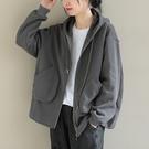 純棉連帽抽繩拉鏈衛衣 純色寬鬆保暖長袖外套/2色-夢想家-0118