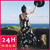 梨卡★現貨 -夏日度假沙灘印花雪紡顯瘦連身裙連身長裙沙灘裙洋裝C6265