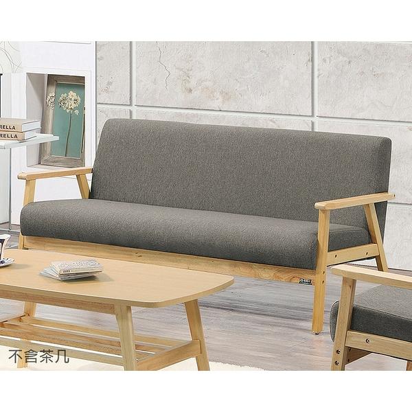 【森可家居】亞克三人座灰色布沙發 8ZX513-5 淺色架