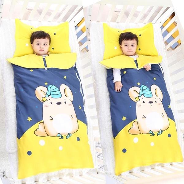 嬰兒寶寶睡袋秋冬1-3歲防踢被子四季通用中大兒童可脫膽薄棉加厚