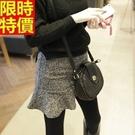 毛呢短裙-韓版純色知性魚尾荷葉襬迷你裙6...