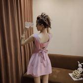 連身裙女夏2018新款氣質無袖吊帶背心蝴蝶結系帶收腰下擺a字裙子   初見居家