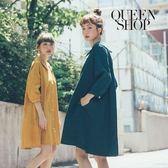 Queen Shop【01084159】素面傘擺七分袖洋裝 兩色售*預購*