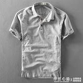 夏季男士亞麻短袖襯衫棉麻薄款復古透氣套頭半袖麻布短袖男襯衣潮 蘿莉小腳丫