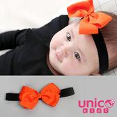UNICO 兒童 質感緞面俏皮活力橘彈力蝴蝶結髮帶/髮飾