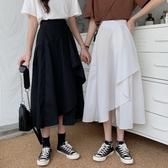 夏季新款韓版INS高腰顯瘦不規則A字裙氣質百搭中長款半身裙女學生