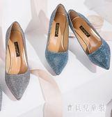 性感高跟鞋 細跟女鞋尖頭亮片水晶女鞋淺口職業OL婚鞋 mj11053『寶貝兒童裝』