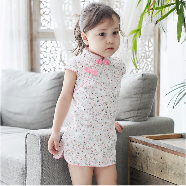造型服 小花童 藝術照 角色扮演 斜襟長版上衣 唐風旗袍旗袍 女童洋裝 中國風連衣裙 90051