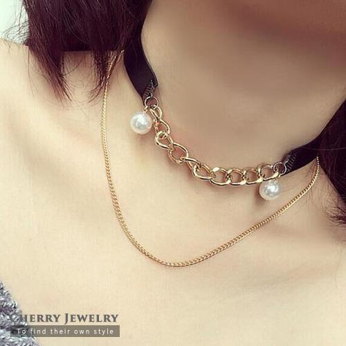 珍珠鍊條造型頸鍊  【櫻桃飾品】【10332】