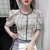 泡泡袖上衣 夏裝潮洋氣小衫時尚格子短袖襯衫女泡泡袖上衣-Ballet朵朵
