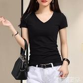 熱賣v領T恤 2021夏季黑色T恤女士短袖V領白色純色緊身雞心打底衫內搭棉上衣服 曼慕