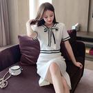 VK精品服飾 韓國風針織蝴蝶結收腰條紋拼荷葉邊短袖洋裝
