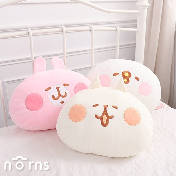 【Kanahei頭型厚抱枕 12吋】Norns 正版授權 卡娜赫拉 P助兔兔 NENE貓咪 靠枕 靠墊 娃娃 玩偶 午安枕