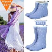 雨鞋女秋冬防水成人雨靴時尚可愛水鞋女防滑膠鞋短中筒女士水鞋