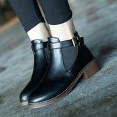 踝靴 秋冬季中跟學生短靴女機車平底馬丁靴粗跟及踝靴短筒女鞋 辛瑞拉
