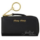 茱麗葉精品【全新現貨】MIU MIU 5PP026 浮雕LOGO全牛皮鑰匙零錢包.黑