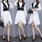 VK精品服飾 韓系不規則襯衫裙針織馬甲套裝長袖裙裝