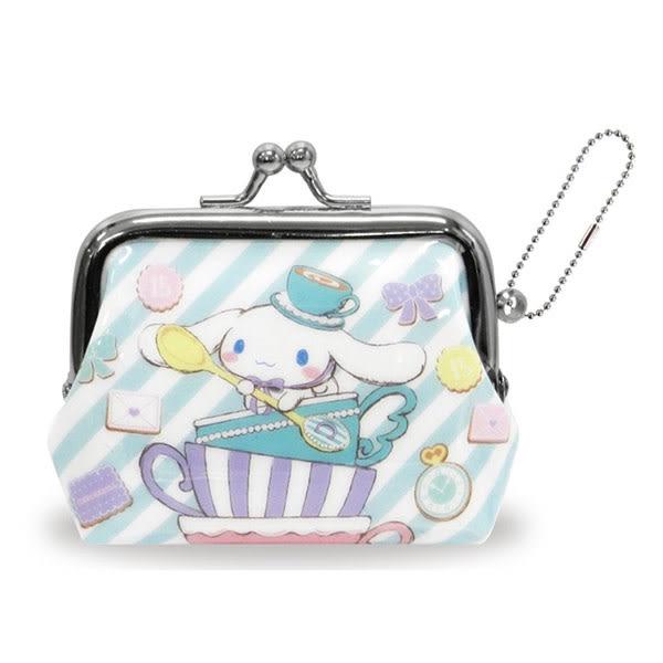 【日本進口正版】大耳狗 Cinnamoroll 斜紋款 珠扣包 零錢包 三麗鷗 Sanrio - 052014