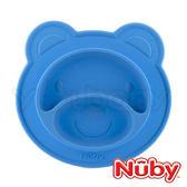 Nuby 吸盤矽膠餐盤 -小熊(藍色)圓型款