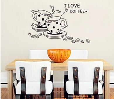 ►三代可 移除 壁貼 壁紙 牆貼 咖啡廳 早餐店 店面 裝飾 素描 咖啡貼紙【A3069】