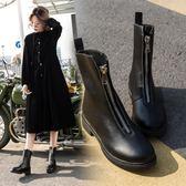 馬丁靴英倫春秋前拉鍊倒靴短靴女鞋粗跟單靴子矮靴   傑克型男館