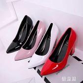 粗跟高跟鞋 四季百搭單鞋女2019新款潮尖頭9厘米韓版皮鞋 BT12686『優童屋』