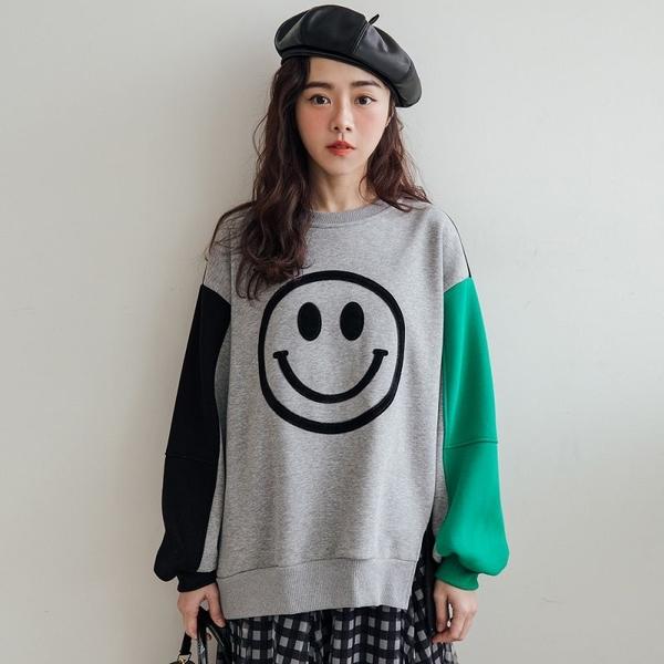 MIUSTAR 下開衩大微笑撞色內加絨厚磅棉質上衣(共2色)【NH3339】預購