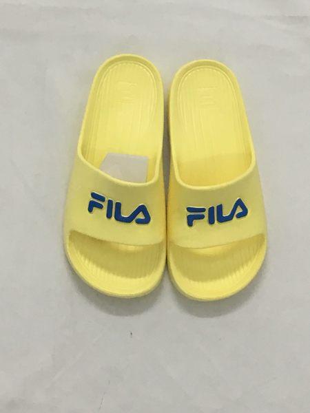 Fila  防水 一體成形 女生  鵝黃 藍Logo 拖鞋  4-S355R-773 【 胖媛的店 】