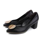 HUMAN PEACE 尖頭跟鞋 黑色 粗跟 女鞋 086507AB no331