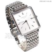 ROSEFIELD 歐風美學 時尚簡約 方形 不鏽鋼 女錶 防水手錶 銀x白 QWSS-Q08