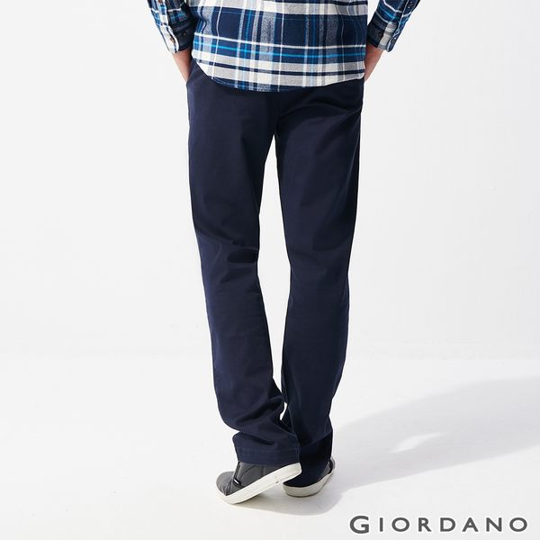【GIORDANO】男裝彈力修身錐形長褲-66 標誌海軍藍
