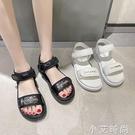 運動涼鞋女夏平底2021新款平底百搭軟底輕便網紅學生魔術貼沙灘鞋 小艾新品