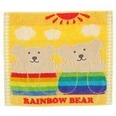日本製【Rainbow bear】彩紅熊大方巾35x39