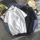 男士短袖t恤韓版潮流翻領POLO衫2020夏季港風純白百搭休閒丅恤男 黛尼時尚精品