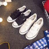 春季魔術貼帆布鞋男鞋低幫男女透氣板鞋休閒鞋