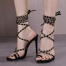 歐美新款高跟鞋 鏈條細帶羅馬涼鞋 高跟套趾大碼涼鞋女