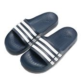 ADIDAS 拖鞋 DURAMO SLIDE 深藍 白線 防水 運動 男女(布魯克林) G15892