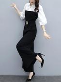 連身褲 2020春季新款高腰雪紡修身長褲顯瘦連衣褲黑氣質闊腿連體褲套裝女  艾維朵