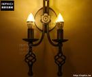 INPHIC- 美式鄉村雙頭復古臥室餐廳個性創意床頭鐵藝蠟燭壁燈_S197C
