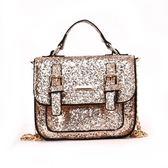 手提包-肩背鍊條純色亮片斜背女小方包4色73fc363【巴黎精品】