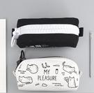 筆袋 大拉鏈可愛筆袋簡約男女生小學生大學生文具袋大容量韓國鉛筆盒【快速出貨八折鉅惠】