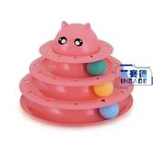 寵物三層轉盤帶球貓咪趣味玩具貓抓板磨爪用品【英賽德3C數碼館】