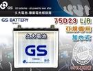 【久大電池】 GS 統力 汽車電瓶 加水式 75D23R 55D23R 適用 汽車電池