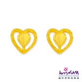 威世登 黃金雙心型貼耳耳環金重約0.24~0.26錢 送禮推薦 生日 情人節 GF00217-EEX-EHX