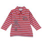【愛的世界】純棉橫條紋機器人長袖POLO衫-紅灰/6~12歲-台灣製- ★秋冬上著