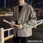 春秋季韓版ins格子西裝男士外套bf風青少年潮流寬鬆學生休閒西服 阿宅
