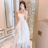 蕾絲洋裝 連身裙白色蕾絲刺繡高腰吊帶會禮服長裙