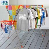 【LIFECODE】日光免螺絲X型曬衣架(桔色)-2個曬襪架+防風掛勾